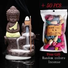 50 pçs cones de incenso + queimador decoração para casa o pequeno monge pequeno buda incenso refluxo queimador de incenso casa escritório casa de chá