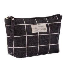 Женская клетчатая косметичка для путешествий, сумки для макияжа, женская сумочка на молнии, маленькая косметичка для путешествий, косметичка, черный P