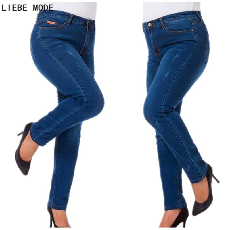 Vårhøst Damer Stretch Skinny Jeans med høy midje Kvinne Plus Size - Kvinneklær