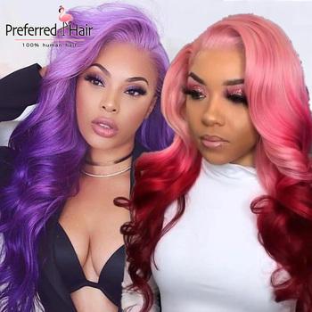 Preferowane koronki przodu peruki z ludzkich włosów fioletowy różowy Ombre peruki ciało fala Remy 13 #215 6 koronkowa peruka na przód dla czarnych owmn tanie i dobre opinie PREFERRED HAIR Długi Proste Remy włosy Ludzki włos Pół maszyny wykonane i pół ręcznie wiązanej Wszystkie kolory