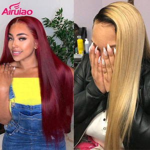 Ombre Red 13X6 Lace Front Human Hair Wig Honey Blonde 613 Burgundy 99J Straight Frontal Wigs Highlight Colored Ginger Brown Remy(China)