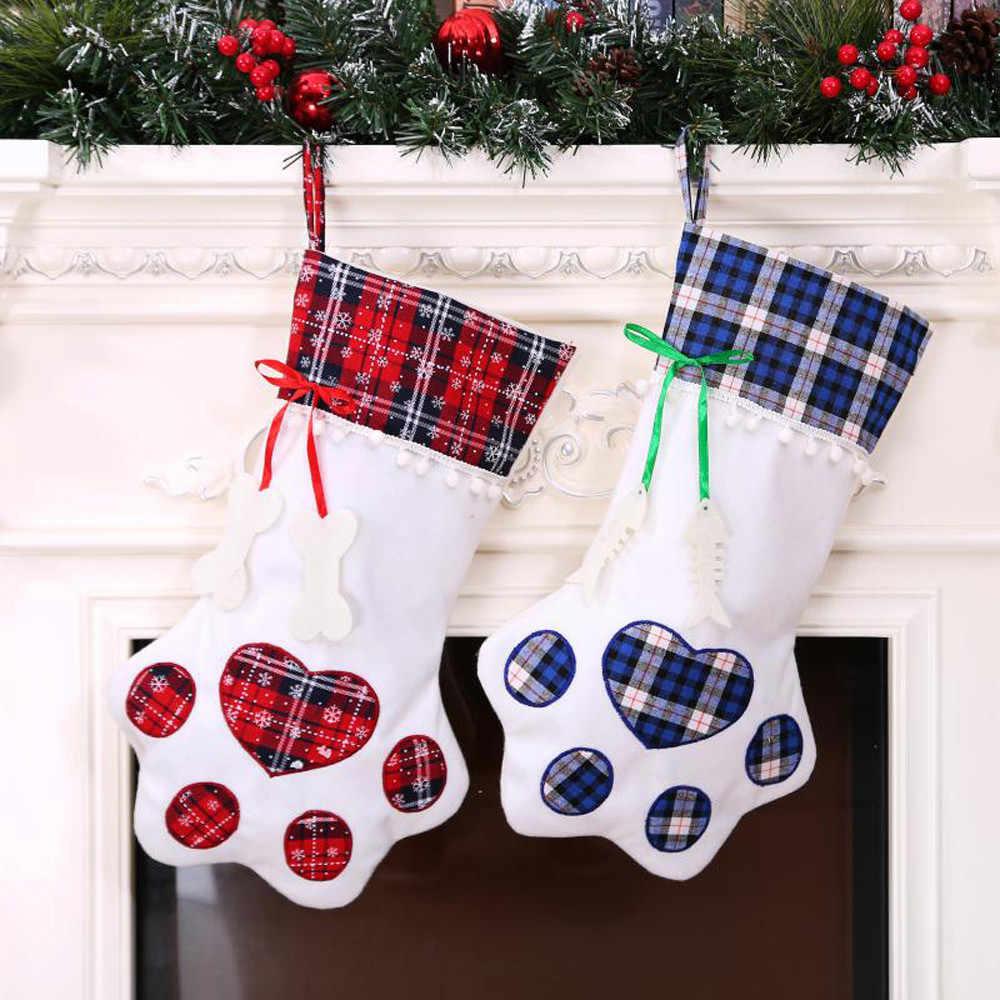 Клетчатые рождественские подарочные сумки висящие носки чулки для домашних