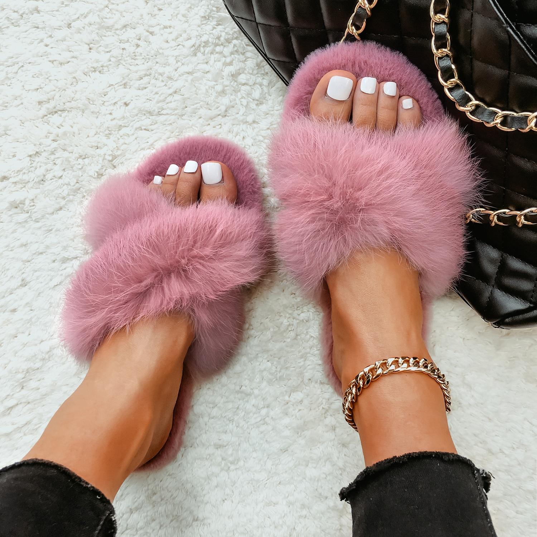 Plush Slippers Real Rabbit Fur Slides Fashion Cross Band Flat Sandals Winter House Women Fur Slippers