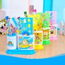 1 комплект, мультяшная карандашная линейка, точилка для ушей, 7 в 1, Канцелярский набор для детей, подарок для школьников, школьников, с ручкой ...
