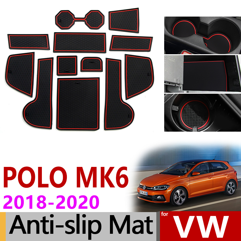 Anti-Slip Mat For Phone Gate Slot Mats Cup Rubber Pads Rug For VW POLO MK6 2018 2019 2020 Volkswagen Car Accessories Stickers