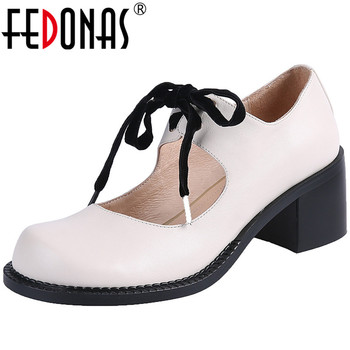 FEDONAS Women Cow Leather Casual Shoes Working Shoes Spring Summer Lace Up Pumps Round Toe New Arrival 2020 Retro Shoes Woman