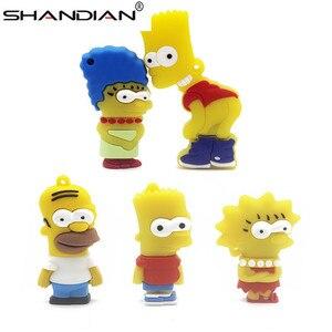 Image 2 - SHANDIAN Bart Simpson fare kurt 4GB 8GB 32GB 64GB Memory Stick U Disk PenDrive Homer kalem sürücü USB Flash sürücü