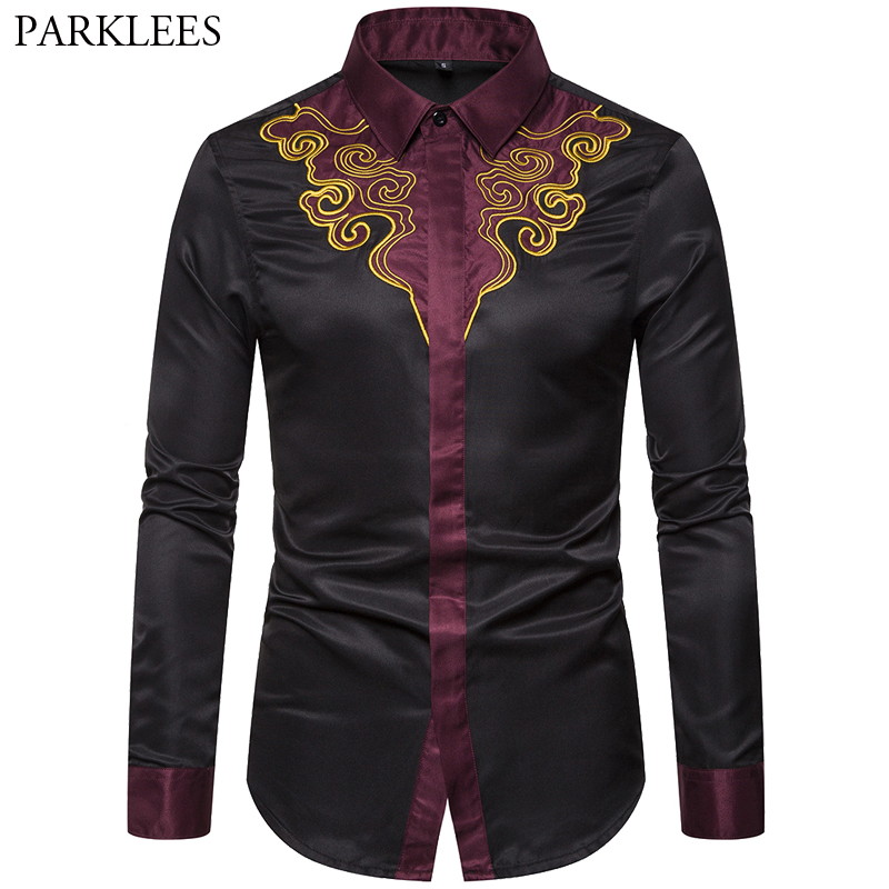 Shirt Luxury Chemise Homme Printed Party-Prom Wedding-Long-Sleeve Covered-Button Splice