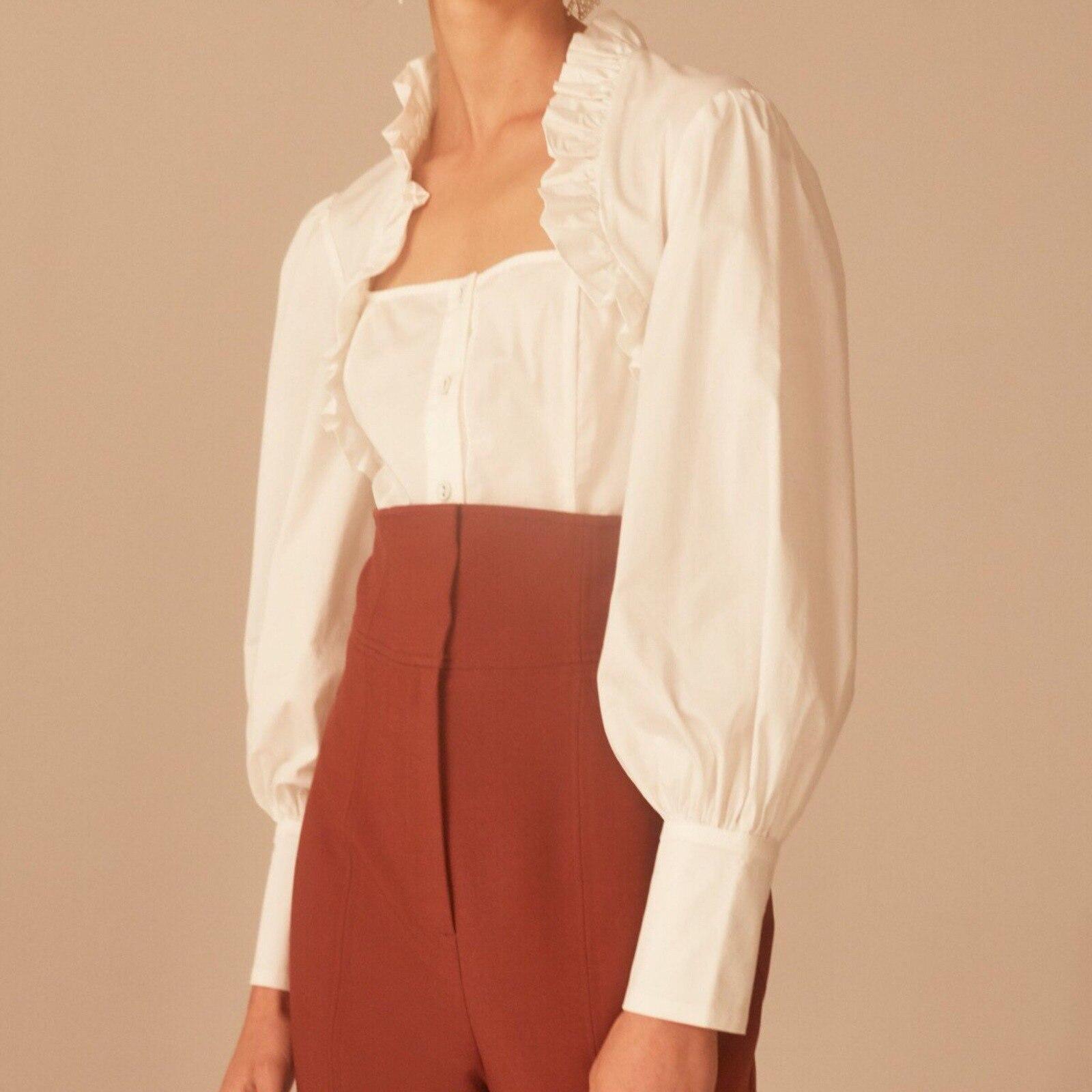 Fashion Female Elegant Tie White Blouses Chiffon Shirt Ladies Blouse Square Collar Ruffles Women Top Women Sexy Shirt Solid Full