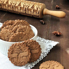 Pastry-Tool Biscuit Wood-Rolling-Pins Christmas-Embossing Engraved-Roller Cake-Dough