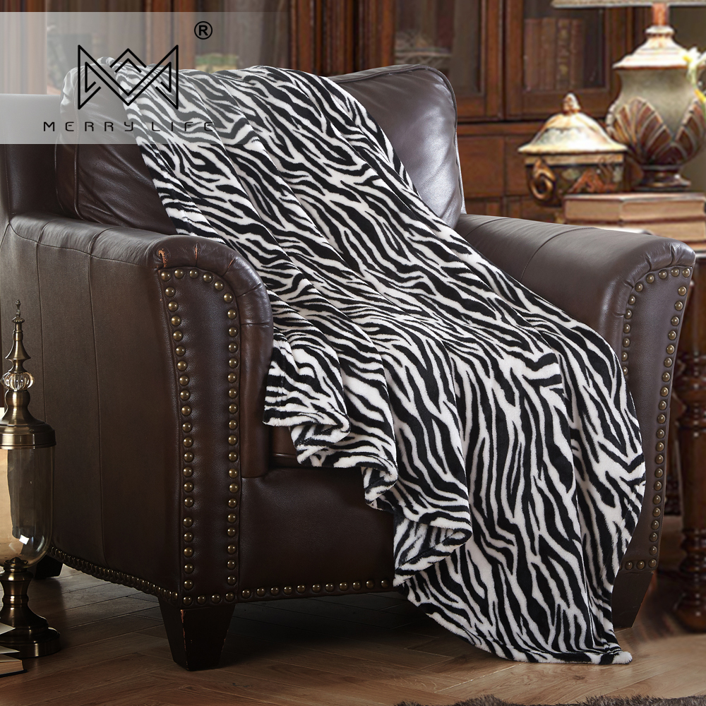 Merrylife Throw Blankets for Sofa bed Pattern Print Striped Cheetah Zebra Home Textile Flannel Plush Soft Travel Oversized-1