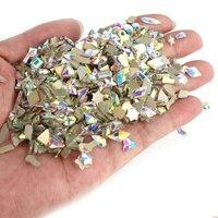100 stücke gemischt Form Strass Flache Rückseite Unregelmäßigen strass glas nagel kunst kristall 3D nagel kunst dekoration