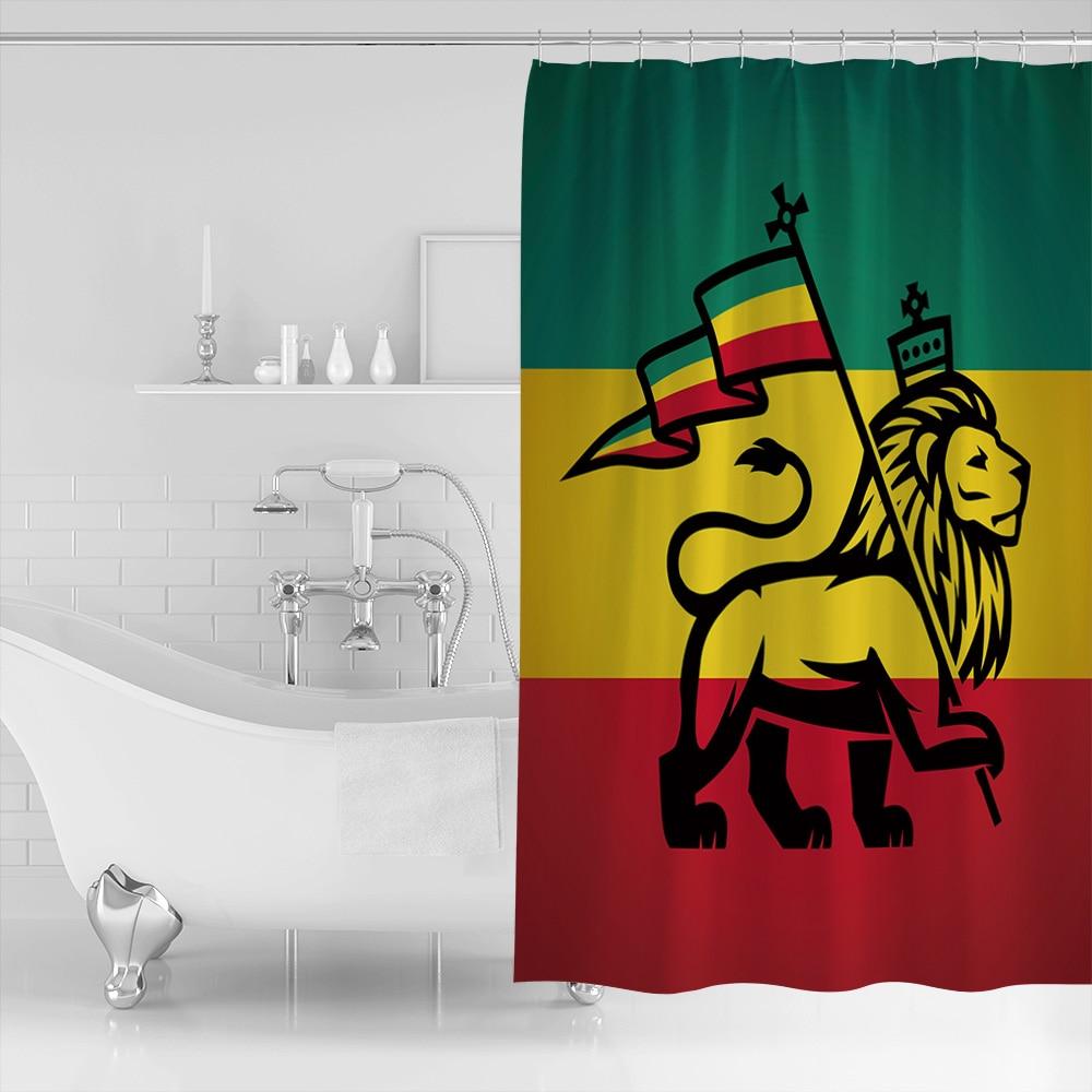 Rasta Shower Curtain Judah Lion Rastafari Flag Print for Bathroom