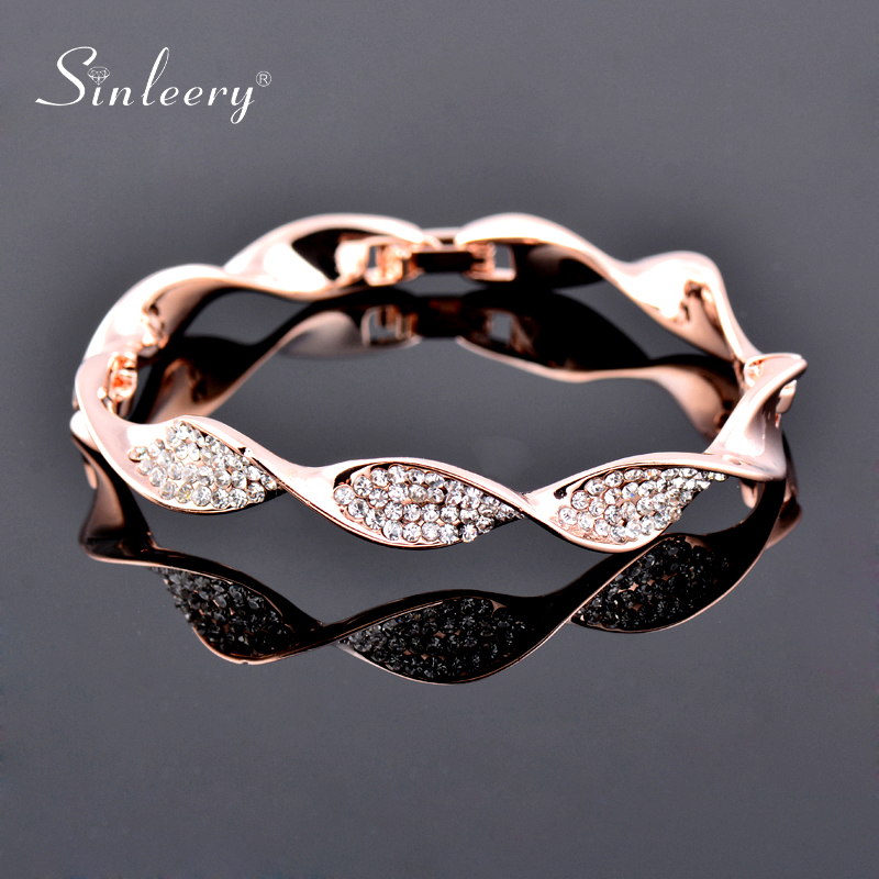 SINLEERY Charm Crystal Bracelets For Women Rose Gold Silver Color Fashion Twisted Wave Bangle Wedding Jewelry Sl263 SSB