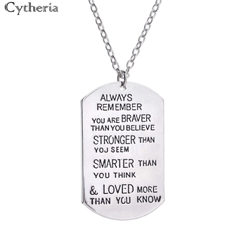 dog tag Necklaces man always remember you are stronger loved than you seem know cheer friends up excitation Necklace woman image
