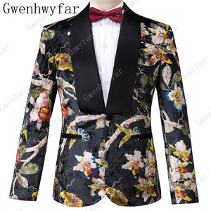 Image 2 - Gwenhwyfar Knappe Luxe Mannen Pak Hoge Kwaliteit Bloemen Patroon Jas + Broek Nieuw Design Grote Verkoop Mannen Trouwpak Beste mannen