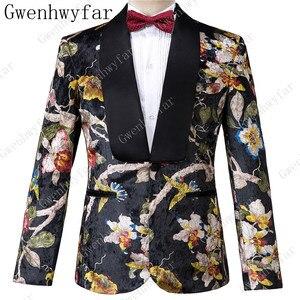 Image 2 - Gwenhwyfar ハンサム高級男性のスーツ高品質花柄ジャケット + パンツ新デザイングレート販売男性の結婚式のスーツベストマンスーツ男性