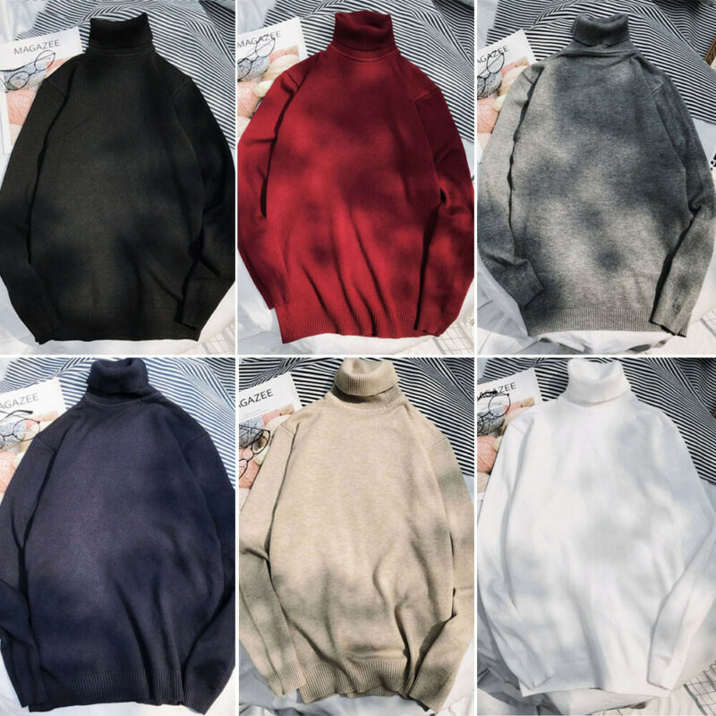 Men Fashion Winter Warm Sweater Slim Fit Knitted High Neck Long Sleeve Pullover Solid Jumper Turtleneck UK