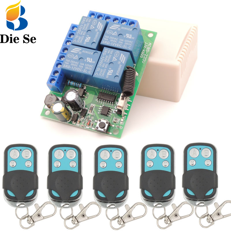 Wireless Remote Control Switch RF Relay 433Mhz AC85V~250V 4 Gang Receiver and Transmitter for Garage Light
