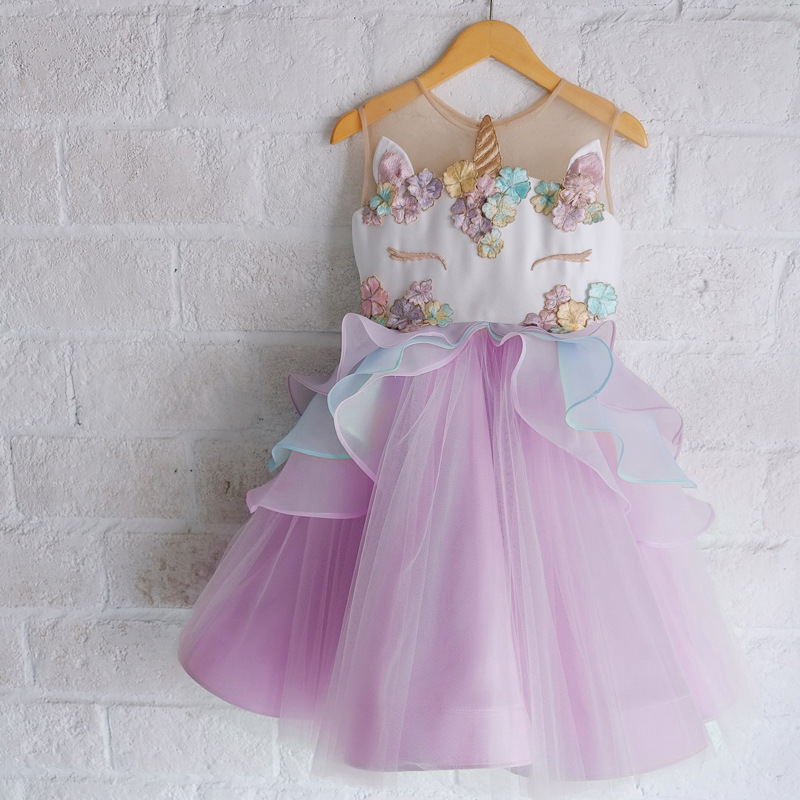 Hot Selling Europe And America Girls Performance Unicorn Princess Skirt Gauze Lace Dress Party Dress