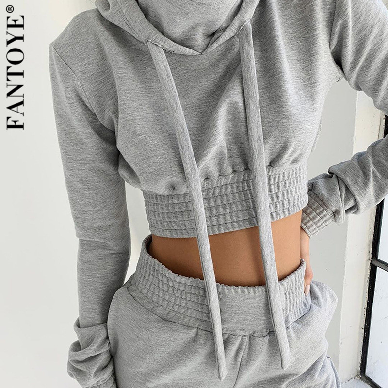 Fantoye Women Casual Two Piece Set Hoodies Crop Top And Pants Jumpsuit 2019 New Elastic Tracksuit Women Clothing Suits Sportwear