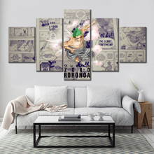 Modular Canvas Painting Home Decor 5 Panel Anime ONE PIECE Roronoa Zoro Wano Country Pictures Modern Printed Poster Wall Artwork