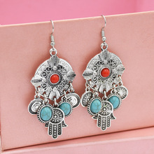 2019 Top Indian Jhumka Gypsy Jewelry Sliver Color Boho Vintage Ethnic Womens Earrings Hollow Water Drop For Women
