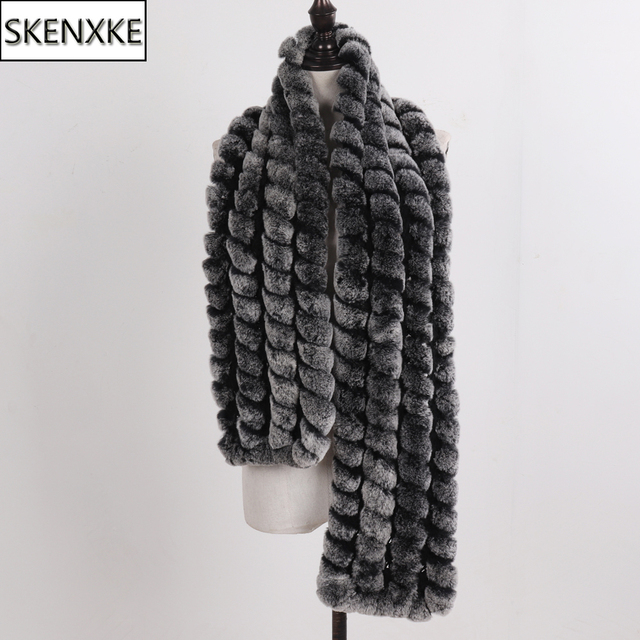 2020 New Knitted Fashion Lady Real Rex Rabbit Fur Scarf Women Winter Warm Natural Fur Scarves Long Style Real Fur Neckerchief