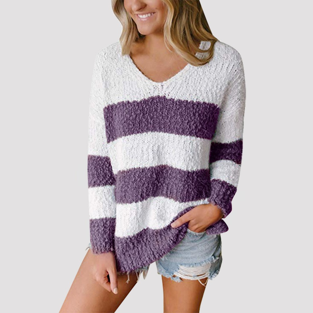 Fashion Women Knitted Sweater Casual Long Sleeve Stripe Colour Stitching V Neck Loose Plush Tops Pullover Women Winter Oversized