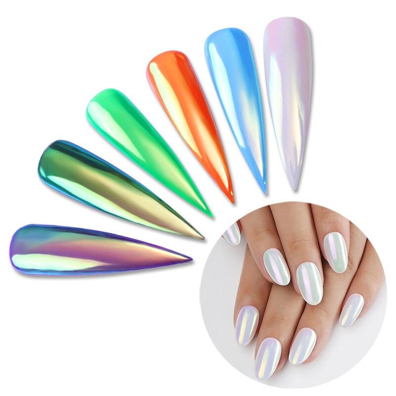NASCIDO BONITO Unicórnio Neon Espelho Glitter Em Pó Ultra-fino Nail Art Sereia Cromo Pigmento Em Pó Da Arte Do Prego Pó Puro cor Gel