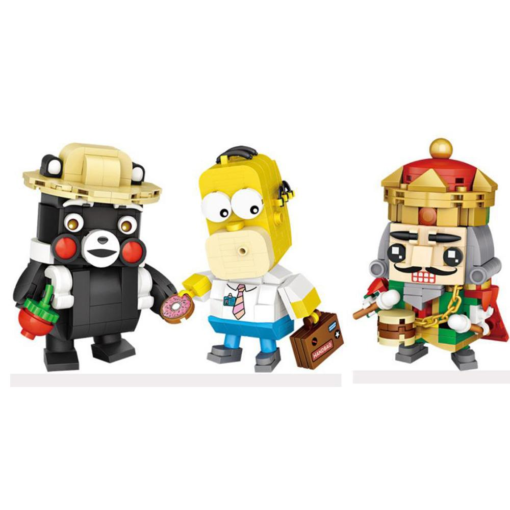 Lepiniong-créateurs classiques de dessin animé, Kumamon, ours noir casse-noisette king m. Simpson, mini-bloc de briques, jouets en cadeau