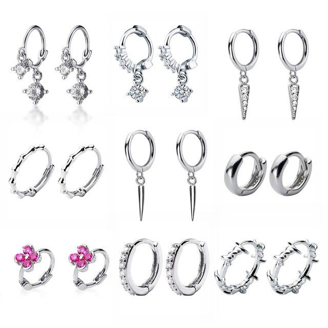 2019 yeni küçük 925 ayar gümüş asılı saplama küpe kadınlar için yıldız çapraz kalp top dilim Charm küçük çıtçıt küpe XY900