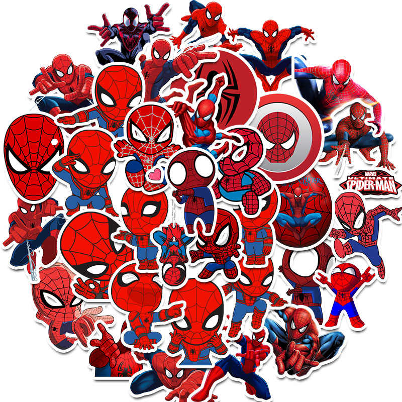 35Pcs Marvel The Avengers Spiderman Stickers for Car Laptop PVC Backpack Home Decal Pad Bicycle PS4 Waterproof Decal