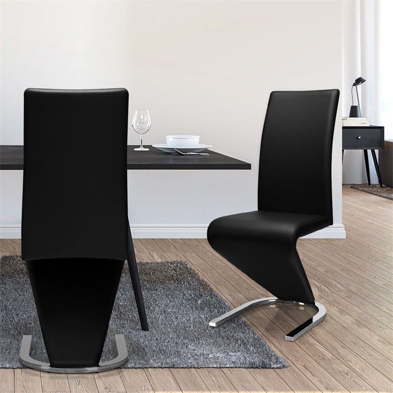 Modern 2 Pcs High Back U-Shaped PU Leather Dining Chairs Kitchen Room Furniture High Quality HW59086