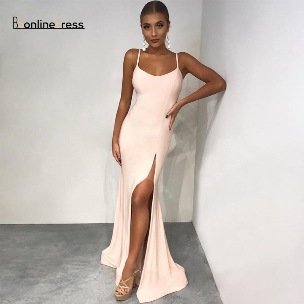 Bbonlinedress Blush Prom Dresses Satin Spaghetti Strap Long Prom Dress Split Formal Party Gown Vestido-de-festa