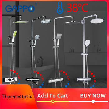 GAPPO Shower System bathroom thermostatic shower faucet bath shower mixer tap set waterfall bathtub faucet rain shower head set 1