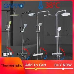 GAPPO Shower System bathroom thermostatic shower faucet bath shower mixer tap set waterfall bathtub faucet rain shower head set