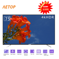 Free shipping television 4k big flat screen tempered glass led smart tv 75 inch with bluetooth&voice control