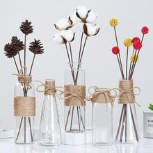 Jarrones de vidrio nórdico creativos decoración de mesa de sala de estar, transparente, agua, hidropónico, cuerda de flores, florero seco, botella Diy
