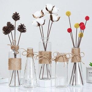 Image 1 - Jarrones de vidrio nórdico creativos decoración de mesa de sala de estar, transparente, agua, hidropónico, cuerda de flores, florero seco, botella Diy