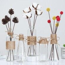 Kreative Nordic Glas Vasen Wohnzimmer Tisch Dekoration Transparent Wasser Hydrokultur Blume Seil Trockenen Blume Vase Diy Flasche