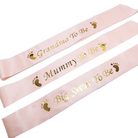 Baby Jongen Meisje Baby Shower Geslacht Onthullen Party Decorations Gunstgiften Mummie Worden Oma Grote Zus Worden Satin lint Sash 1