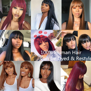Image 5 - Straight Human Hair Wigs with Bangs 13x4 Lace Front Wig with Bangs Human Hair Bob Wig Brazilian Remy Hair Lace Wig for Women