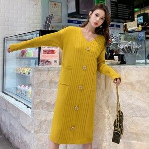 Image 3 - Трикотажное хлопковое винтажное платье с длинным рукавом размера плюс, женское Повседневное платье свитер средней длины на осень и зиму, элегантная одежда 2019, женские платья
