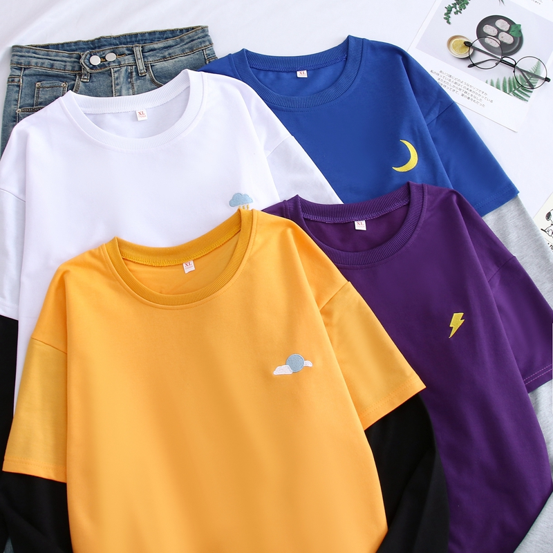 Harajuku Kawaii Sweatshirt Women Moon Weather Embroidery Cosplay Long Sleeve Tops Hoodie Patchwork False Two Pieces Hoodies