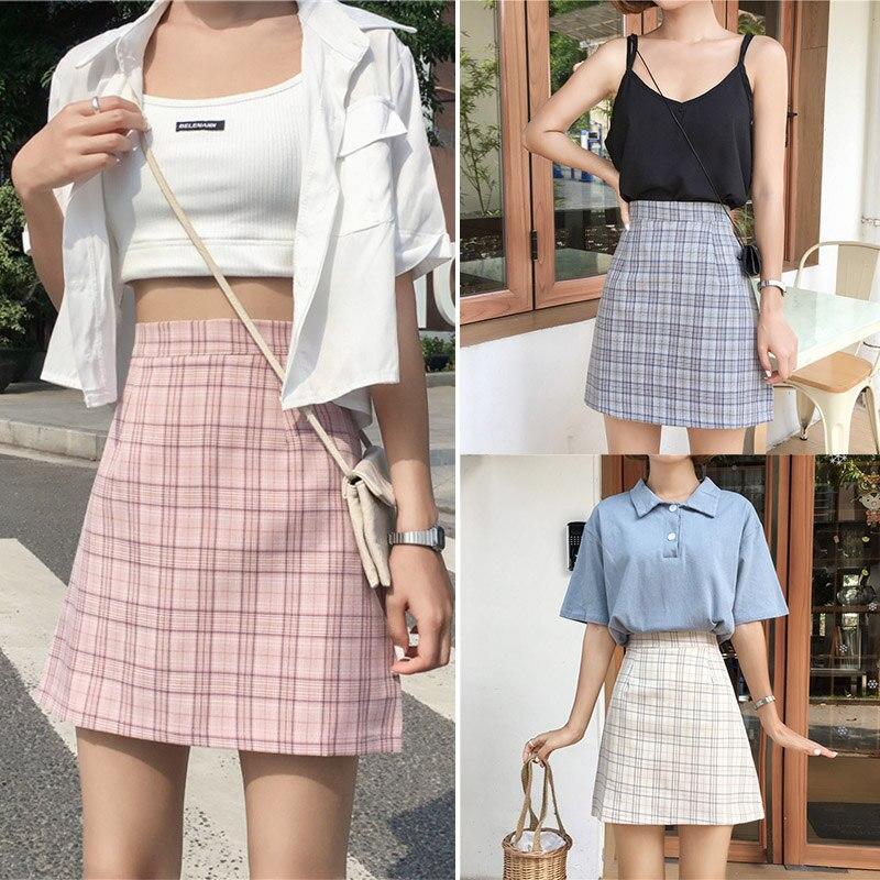 Women Skirt Plaid Print Skirt Summer Vintage High Waist Skrit A-Line Wild Casual Skirt S-L