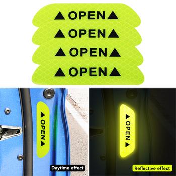 4 sztuk zestaw naklejki drzwi samochodu uniwersalne ostrzeżenie o bezpieczeństwie znak dla Skoda Octavia 2 3 a5 szybki kodiaq fabia karoq Citigo FABIA FELICIA tanie i dobre opinie CN (pochodzenie) odblaskowe paski Car Door Stickers Universal Safety Warning Mark OPEN High Reflective