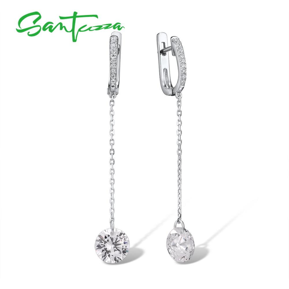 SANTUZZA Silver Earrings For Women Pure 925 Sterling Silver Shiny White Cubic Zirconia Long Drop Earrings Elegant Fine Jewelry