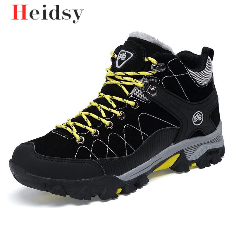 New Men Boots Winter With Fur 2019 Warm Snow Boots Men Winter Boots Work Shoes Men Footwear Fashion Rubber Ankle Shoes Big Size