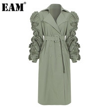 [EAM] kobiety zielony Ruffles Stitch długi wykop nowa z klapami z długim rękawem luźny krój wiatrówka moda fala wiosna jesień 2021 1DC061